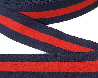 Blue Red Striped Gucci Style Rubber Elastic Band Trim