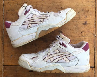 Asics Volleyball Court Shoes White Magenta Pink 90s 7.5