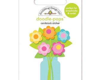 Doodlebug~Hello Sunshine Doodle-Pops 3D Stickers~Bright Bouquet
