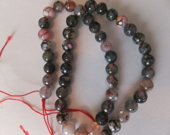 """16"""" Strand 8mm Faceted Natural Dragon Vein Agate Beads (approx 46-49 beads on strand)"""