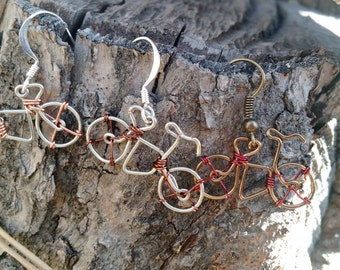 Wire wrapped bicycle earrings