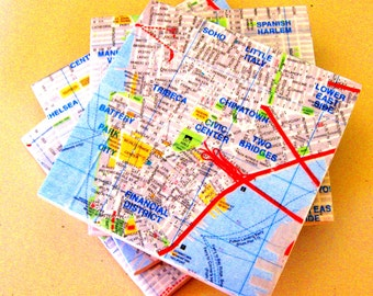 Coaster set. New York City map coasters.  Manhattan map coasters.  Cermaic tiles.