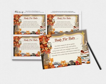 Fall Woodland Bring A Book Insert Woodland Themed--3x2 Inches-- / Instant Download /--Woodland--Animals--