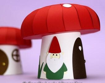 Paper Mushroom Gift Box - SVG Files - 3D Paper Mushroom Party Favor Gift Box