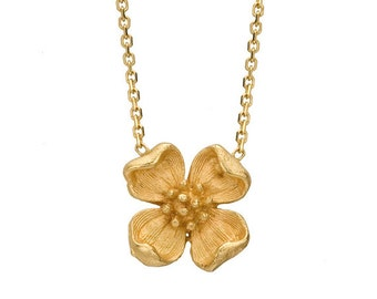 Gold Flower Necklace - Antique Flower - Gold Flower Charm Necklace - Flower Necklace Gold - Gold Flower - Gold Necklace