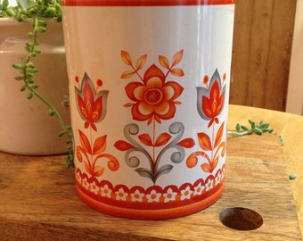 Fab collectable 1960's orange retro vintage tin canister with lid