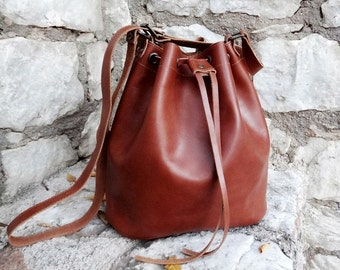 Brown shoulder large bag, leather bucket, elegant drawstring bag  / Handmade Twininas Greek Leather / Crossbody