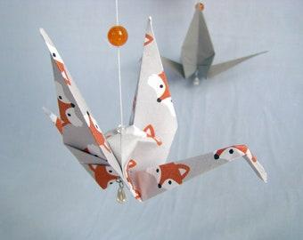 READY TO SHIP - Origami Crane Hanging Mobile - Fox Theme - Home Decor - Kids Room Decor
