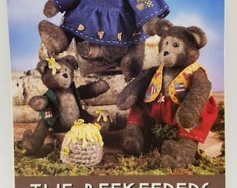 Bear Pattern The Beekeeper IJ369 9 Inch 13 inch Bear with Clothing Pattern Designer Laura Hakes Indygo Junction Papa Mama Baby Bear Beehive