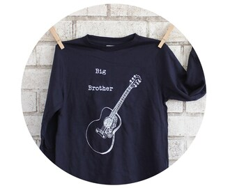 Guitar Big Brother Youth Tshirt, String Instrument, Musician, Hand Screen-Printed, Long Sleeved Cotton Navy TShirt, New Child Sibling Gift