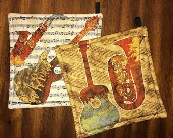 Music/Instruments Custom Made Hot Pads/Pot Holders