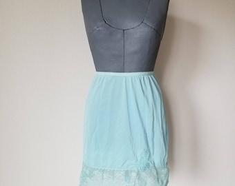 Vintage 1960's Aqua Blue Half Slip