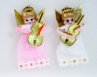Vintage Organza Angel Ornaments, Kitsch Angel Decorations, 2 Christmas Angels, Pink Holiday Decor, Baby Shower, Gift Package Decoration