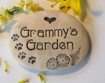 Grammy's Garden stone, Grammy gift. Grammy garden sign, cat lover gift, Rustic garden decor Ceramic Grammy plant marker.