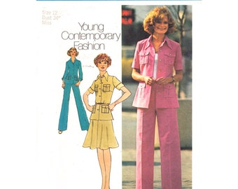 1970s Vintage Pattern Shirt Jacket Flared Skirt Pants Simplicity 6843 Trouser Suit Womens Sewing Pattern Bust 34 UNCUT