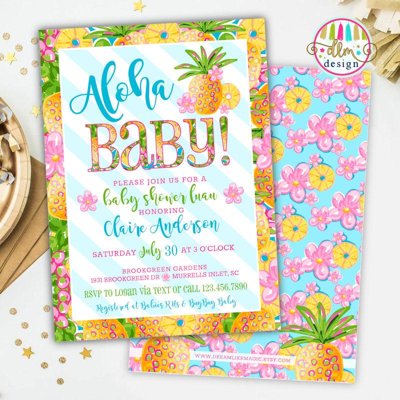 Aloha Baby Tropical Baby Shower Invitation Girl Baby Shower