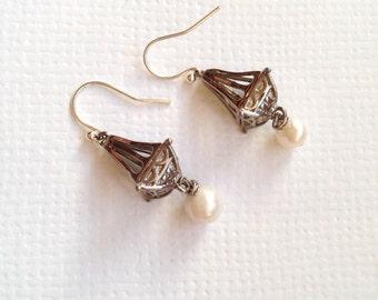 Elegant Chandelier Fresh Water Pearl Silver-plated Earrings, Wedding Jewelry, Bridesmaid Earrings, Bride Earrings, Christmas Gift