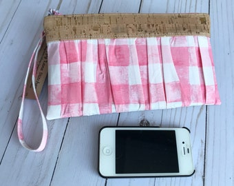 Ruffled Wristlet / Pink Gingham Clutch / Wristlet / Handbag