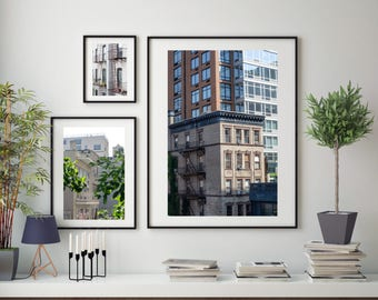 New York City Architecture Street Photography, Large Format Photo Prints, Matted Print Set of 3, Photo Print Set, NYC Highline, Manhattan