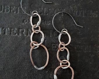 Handmade Copper Pebble Chain Earrings - Mixed Metals