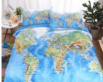 Map bedding etsy map duvet cover map bedding set map king duvet cover map queen duvet gumiabroncs