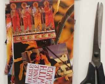 Collage kit, color coordinated, orange , art kit, paper goodies, clippings, journaling, scrapbooking