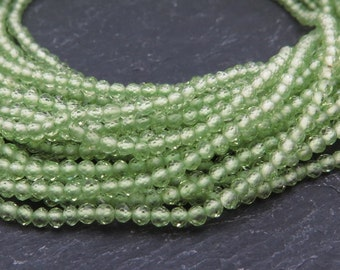 """AAA Peridot Faceted Rondelles 2mm ~ 13"""" Strand"""
