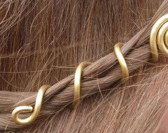 2 pcs Viking Hair Beads, Hair Accessories, Brass Dreadlock, Spiral Beads