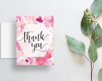 Watercolor Floral Thank You Cards / Bright Pink Watercolor Floral / Calligraphy / Thank You Notes / Printed Folded Thank You Cards