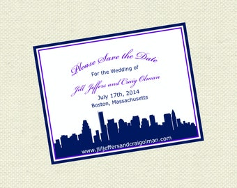 Boston City Save the Date, Nautical Save the Dates, Coastal Save the Date, Wedding Save the Date,