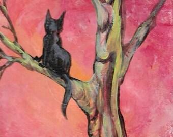 Sunset Cat  Original Painting ACEO Art Card ATC