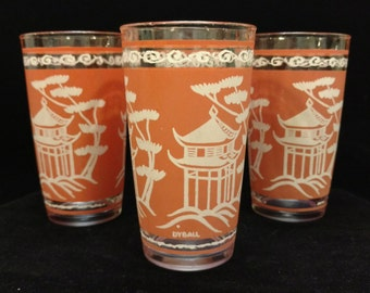 Vintage Anchor Hocking Asian Themed Drinking Glasses set of 4