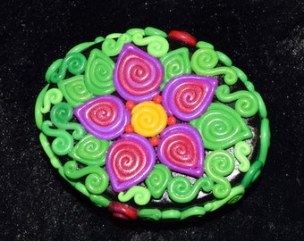 Magenta and Purple Flower Polymer Clay Decorated Box
