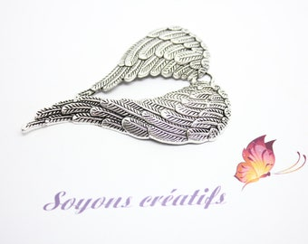 5 Charm - SK10046 - 69x47mm silver angel wing charm pendant