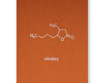 Whiskey Card - Whisky Molecule Chemistry Card - Guy Card, Father's Day, Nerd Science Alcohol Card