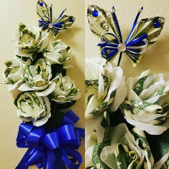 1/2 dozen money rose bouquet with artificial flowers