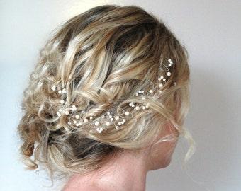Pearl Crystal Hair Vine, Wedding Hair Accessories,Weddding Hair Vine,Swarovski Crystal & Pearl Hair Piece, Pearl Crystal Halo,Wedding Wreath