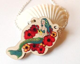 Hawaiian mermaid necklace - ukulele - wooden pendant - laser cut necklace
