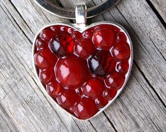 Red heart glass keyring - Modern Mosaic keyring - Micro Mosaic keyring - keyring with heart - keyring Red heart - Gift for beloved