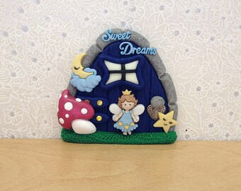 Indoor Fairy Door, Fairy Decoration, Tooth Fairy Door, Boys Pixie Door, Fairy Decor, Fairy Gift - Sweet Dreams