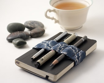 Mini Bandolier // navy tempest // (a better pencil case, journal pen holder, book strap, pen loop, pencil roll, pen bandolier)