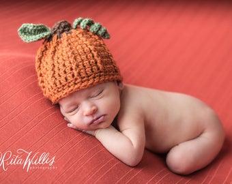Crochet Pumpkin Hat - Newborn Pumpkin Hat - Baby Pumpkin - Photography Props Perfect for Fall Photos - Pumpkin Hat Newborn to Child