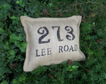 Custom Burlap Address Pillow Porch Decor Decorative Pillow Porch Pillow Wedding Decor Urban Farmhouse French Country House Number Pillow