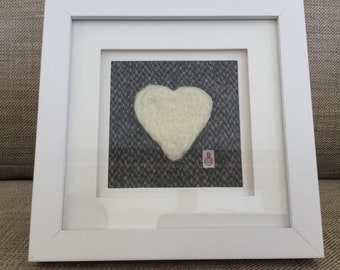 Harris Tweed felted wool love heart picture