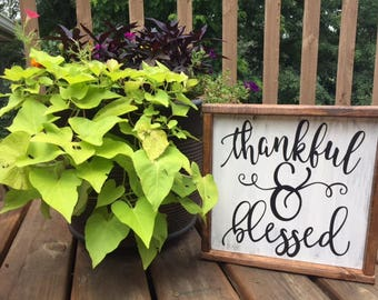 Thankful and Blessed wood sign. Rustic decor.