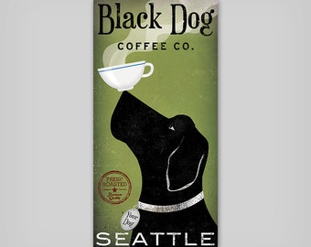 CUSTOM Dog Coffee Company -  Graphic Art Stretched Canvas Wall Art by Ryan Fowler