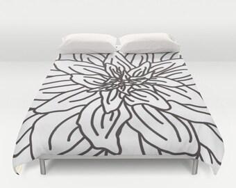 Modern Flower Duvet Cover - Brown and White Flower Duvet Cover - Abstract Flower Bedding - Modern Duvet - Full Queen King Size - Aldari Home