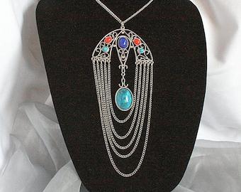 Vintage Turquoise Coral Bib Necklace Art Deco Chandelier Draped Chains Pendant Faux Turquoise Coral Lapis