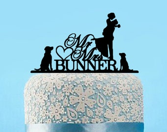 Customized Unique Acrylic Wedding Cake Topper With Dogs,Personalized Rustic Mr And Mrs Last Name Wedding Cake Topper,Funny Wedding gift