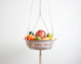 CARMEN MIRANDA Macrame Fruit Bowl Hanger Vintage Hanging Planter | Modern Macrame Planter | Plant Hanger | Minimalist Home Decor